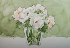 White and Pink Roses Watercolor Painting Flowers by RoseAnnHayes, $26.00