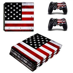Protective Vinyl Skin Decal Cover for Sony PlayStation 4 Pro PS4 Pro Console  Remote DualShock 4 Pro Controller Sticker Skins  American Flag >>> Check this awesome product by going to the link at the image.Note:It is affiliate link to Amazon.