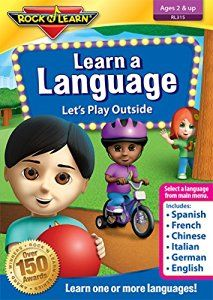 Discover a new language or build vocabulary in your child's native language. From the Main Menu, select Spanish, French, Mandarin Chinese, Italian, German, or English. All six languages on one DVD! Kids explore the outdoor world of playful activities and common animals. They learn the names of familiar foods during a fun picnic.