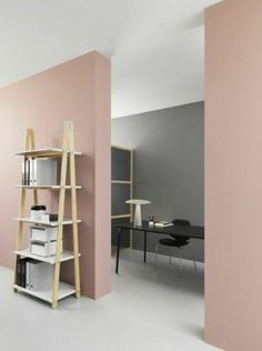 office or living room paint colors, pastel pink and gray walls, off-white floor and white ceiling, minimalist wooden furniture Gray Painted Walls, Pink Walls, Grey Walls, Pastel Walls, Room Arrangement Ideas, Living Room Arrangements, Colours That Go With Grey, Room Wall Painting, Room Paint Colors