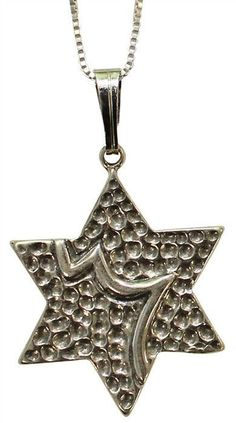 "Silver Star Of David Necklace - Pendant 3/4"" H 3/4"" W"