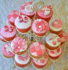 Shades of pink baby shower cupcakes Girl Birthday Cupcakes, Baby Cupcake, Girl Cupcakes, Little Girl Birthday, Wedding Cupcakes, Cupcake Cakes, Sweet Cupcakes, Cupcake Toppers, Wedding Cake