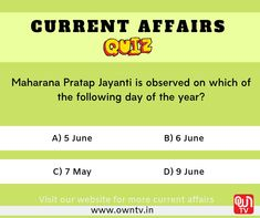 Current Affairs Quiz Choose the right option and comment down. Paper Video, Current Affairs Quiz, Core Beliefs, Question Of The Day, Choose The Right, Days Of The Year, Study Materials, Entertaining, Education