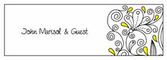 Place Cards. Printable Wedding Invitations Paisley Christina Suite: Yellow and Black
