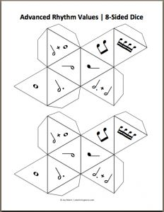Music printable dice, YES!!! I could make one with notes, another flat/natural/sharp ... this would be great to do for theory this summer! be a great way to practice cello and violin at the same time! :D :D