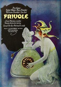 "kittyinva: ""Kittyinva: ad for Frivole perfume. From Art Deco, FB. Vintage Advertisements, Vintage Ads, Vintage Posters, Vintage Prints, Vintage Photos, Perfume Ad, Vintage Perfume Bottles, Lalique Perfume, Poster Ads"