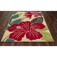 Found it at Wayfair - Antigua Hibiscus Yellow/Red Indoor/Outdoor Area Rug