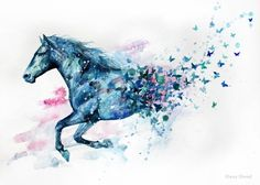 1 Piece Watercolor Drawing Waterproof Tattoo Simulation Blue Horse Butterfly Pattern Temporary Tatoo Sticker for Body Art Fashion Decoration Painted Horses, Watercolor Horse, Watercolor Drawing, Horse Drawings, Animal Drawings, Horse Tattoo Design, Small Horse Tattoo, Spirit Tattoo, Blue Horse