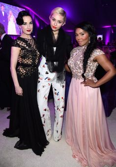 Model Dita Von Teese, Miley Cyrus and Lil' Kim attend the 23rd Annual Elton John AIDS Foundation afterparty.
