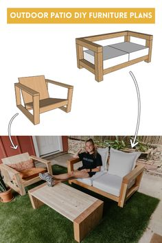 We created all of our outdoor furniture pieces and are obsessed! We have plans on how to build an outdoor couch / sofa and on our outdoor lounge chair. Resin Patio Furniture, Diy Furniture Cheap, Diy Furniture Hacks, Outdoor Furniture Plans, Backyard Furniture, Couch Furniture, Couch Sofa, Barbie Furniture, Furniture Design