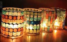 Nouveaux produits 4 pcs/lote décoration main bougeoirs mosaïque de verre chandelier, Bougie romantique tasse, Décoration de mariage(China (Mainland))