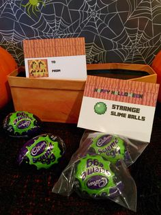 Minecraft Halloween Party Labels (foldable) ~ Strange Slime Balls using green slime filled Halloween Cadbury eggs   For school, trick or treaters, a Halloween basket or as creative gifts to a Minecraft fan  #minecraft #halloween  #minecrafthalloween