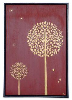 Tree of life Floral Painting Wall decor art Worli Painting, Fabric Painting, Traditional Paintings, Traditional Art, Thai Pattern, Bodhi Tree, Madhubani Art, Indian Folk Art, Thai Art