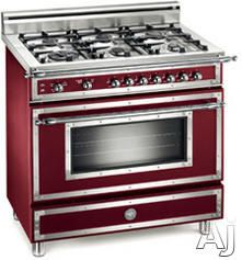 """NICE!!    Bertazzoni H366GGVVI 36"""" Traditional-Style Gas Range with 6 Sealed Burners, 3.6 cu. ft. European Convection Oven, Manual Clean and Storage Drawer: Matte Burgundy, Natural Gas"""