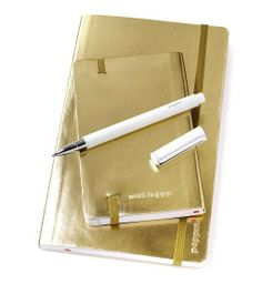Poppin Metallic Gold Soft Cover Notebooks   Desk Accessories   Cool Office Supplies #workhappy
