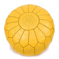 New Moroccan Leather Pouffe Yellow Living Room Footstool Ottoman in Home, Furniture & DIY, Furniture, Ottomans & Footstools | eBay