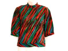 Sixties Wool Blouse Psychedelic Orange Blue and Green Striped Top.