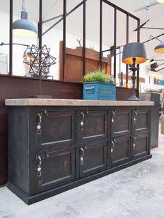 Comptoir meuble de métier gris bleu CHATELET (juste pour la ...