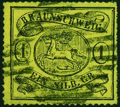 Old German States Brunswick, Michel 11B - 1 Sgr. black on yellow, arc-shaped rouletted 16, wonderful fresh colors in perfect condition with centered black number cancellation. In this exception-quality extremely rare. Outstanding quality for high claims! Photo expertize Lange BPP.