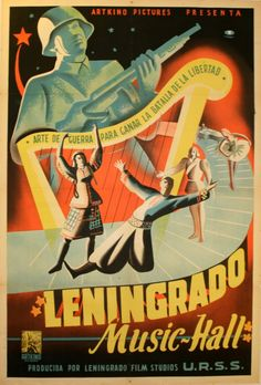 """Leningrad Music Hall Original vintage Soviet cinema poster. """"Art of war to benefit the battle of freedom."""" Colourful image of folk and ballet dancers and a singer on a stylised piano keyboard in front a large harp with a soldier holding a gun dominating the back of the image, featuring star designs on a black background. Good condition, fold lines, tears on margins. Original Vintage Posters War Posters Argentina , 1940 , 110x79cm"""