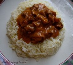 Asdil wants me to make this for him - Beef stroganoff with buttered rice