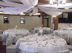 #wedding #bride #groom #reception #weddingreception #loveit #chateauwyuna #burgundyroom #silver #satin #tables #draping #fairylights #white #chiffon Bride Groom, Wedding Bride, Burgundy Room, White Chiffon, Reception Rooms, Draping, Fairy Lights, Table Settings, Tables