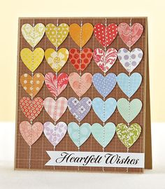 handmade card for Moxie Fab World: Practical Solutions for Paper Crafters Week ... brilliant idea: punch out hearts from all of your beautiful scraps ... sew them onto the card in rows down ... luv the look of this on  kraft and how the cocolors move ion tfrom warm to cool ...