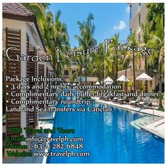 GARDEN LEISURE PACKAGE AT BORACAY Minimum of 2 persons  For more inquiries please call: Landline: (+63 2)282-6848 Mobile: (+63) 918-238-9506 or Email us: info@travelph.com #Boracay #Philippines #TravelPH #TravelWithNoWorries Boracay Philippines, Travel Companies, Travel Tours, Travel Agency, Kuala Lumpur, Manila, Tour Guide, Public, Packaging