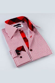 BRIO Check Classic Shirt In Red and black.