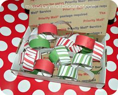 Missionary Mail: Christmas Idea #8 write a message on 25 slips of paper, then make a chain and mail it!