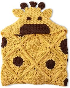 Animal Blankets - Imagine all the fun kids can have with the seven hooded crochet designs in Animal Blankets from Leisure Arts. Perfect for playtime or snuggling, the whimsical blankets help kids escape to an imaginary world where animals run wild and free.Each of the designs by Kristi Simpson is easy to crochet with colorful medium weight yarn. Appliqué accents add fun details. Projects include Giraffe, Ladybug, Mermaid, Owl, Puppy, Sock Monkey, and Zebra.