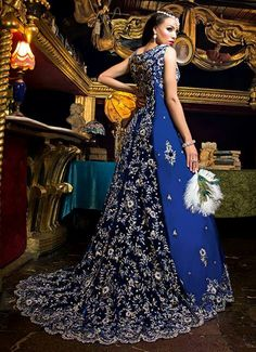 53 Best Blue Bridal Lenghas images | Indian