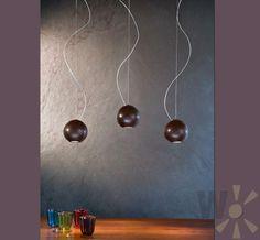 Pendelleuchte in Wenge, Chrom, Kupfer oder weiß, inklusive Leuchtmittel - WOHNLICHT.com Durchmesser Kugel unter 15 cm