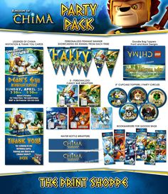 Legends of Chima Party Pack - Chima Birthday Invitation Cupake Toppers Bottle Candy Wrappers Chima Banner. $40.00, via Etsy.