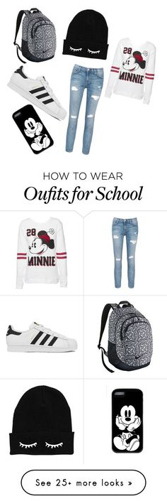 """Back to school!!"" by almaaa3008 on Polyvore featuring NIKE, adidas, Current/Elliott, Disney, women's clothing, women's fashion, women, female, woman and misses"