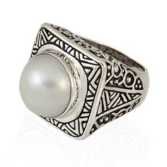 Sterling Detailed Square Mabe Pearl Dome Ring