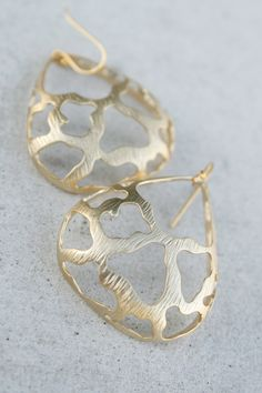Gold Coral Design Earrings