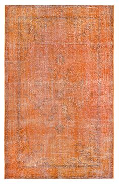120x75 Inches Wool Carpet Rug Orange Rugs VINTAGE Turkish Woven Rugs Carpets Overdyed Rugs / 901