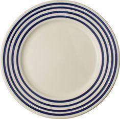 Navy blue stripes plate - Henriot Quimper faience - breton stripey