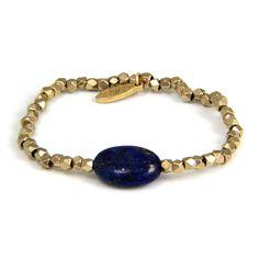Ettika :: Bracelets :: Elastic :: Oval Lapiz Lazuli on Gold Faceted Beads Elastic Bracelet