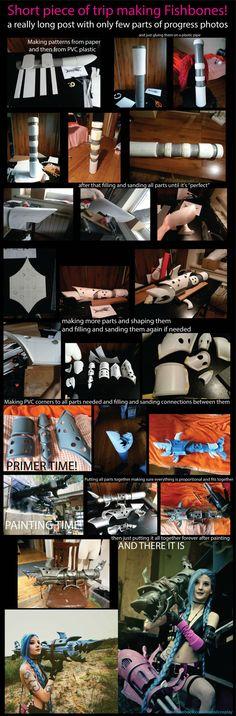 Step by stem Fishbones cosplay prop making. Jinx from League of legends prop DIY