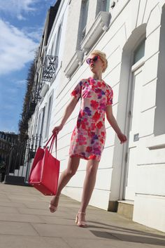 """Pink """"Provence"""" Print Dress by Damsel in a Dress, L.K.Bennett Rose Morgan Sandals, Vintage Cassis Diorella Ultra Tights from ebay.co.uk, Jaeger """"Jennifer"""" Leather Shopper Bag, Mondelliani Pink Salina sunglasses. Photography and styling by Gregg Stone: www.greggstone.com"""