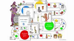 Orthophonie - Plateau et cartes - Sorcière ch-j - Téléchargeable sur Face Book – Partage de matériel Artiskit : Orthophonie http://www.facebook.com/groups/128326657315777/