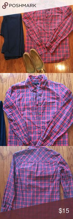 Plaid Popover Top Red J. Crew popover top with plaid print. In excellent condition, minimal wear. J. Crew Tops