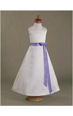 A-line Floor-length Satin Flower Girl Dress