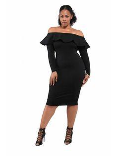 Vicky' Ponte Long Sleeve Ruffle Dress- Black