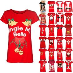 Womens Christmas Jingle My Bells Tie Ribbon Ladies Cap Sleeve Xmas Tee Shirt Top