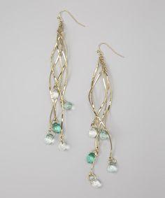 Gold & Green Drop Earrings
