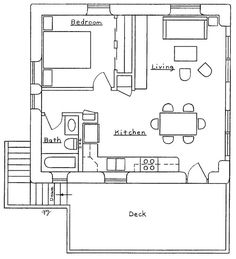 second floor layout • first floor is a garage and shop • maybe rotate interior to allow french doors onto the deck | dreamgreenhomes.com