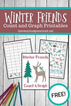 Add this engaging Winter Friends Count and Graph activity to your preschool and kindergarten math centers. Count to 10 and graph the results! Preschool Printables, Preschool Math, Kindergarten Math, Lap Book Templates, Christmas Activities For Kids, Science For Kids, Math Centers, Count, Friends